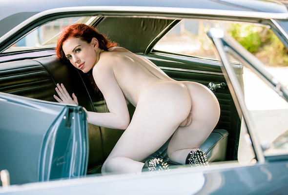 Nude girls bent over cars